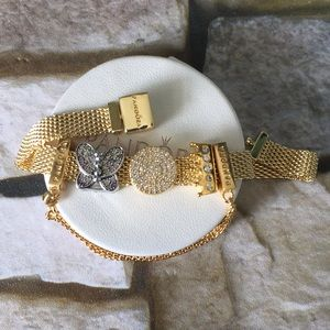 Pandora gold tone reflexions charm bracelet 925